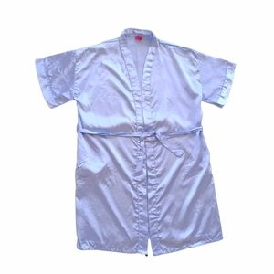 Vintage Y2K Size 14 Baby Blue Satin Robe Dressing Gown